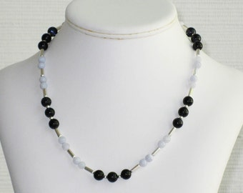 Blue Lace Agate and Blue Goldstone Bead Necklace
