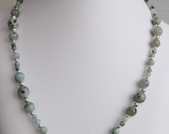 Sesame Jasper Round Bead Necklace