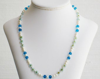 Freshwater Pearl, Turquoise Glass and Millefiori Bead Necklace