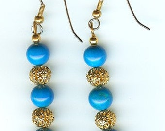 Howlite Turquoise and Filigree Earrings