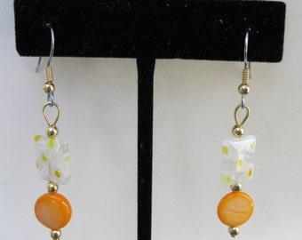Orange Mother of Pearl and Millefiori Drop Earrings