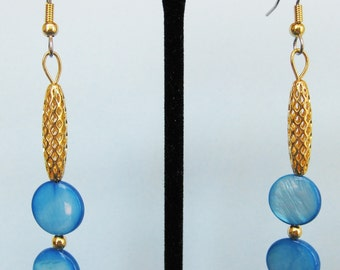 Turquoise Mother of Pearl Open Weave Drop Earrings