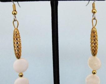White Mother of Pearl Open Weave Drop Earrings