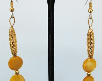 Gold Mother of Pearl Open Weave Drop Earrings