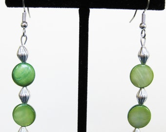 Green Mother of Pearl Fluted Drop Earrings