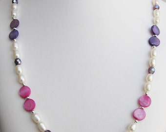 Pearl, Fuschia and Purple Mother of Pearl Necklace
