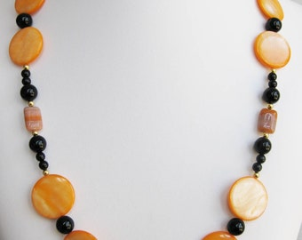 Orange Mother of Pearl, Black Onyx and Glass Bead Necklace