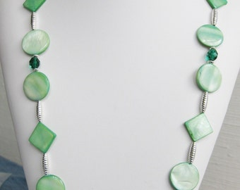 Green Mother of Pearl and Faceted Glass Necklace