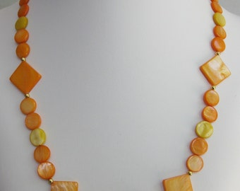 Orange and Yellow Mother of Pearl Necklace
