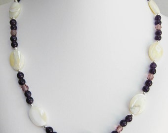 Amethyst, Lavender Glass and Mother of Pearl Necklace