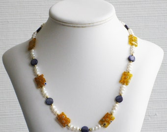 Freshwater Pearl, Blue Mother of Pearl and Millefiori Necklace