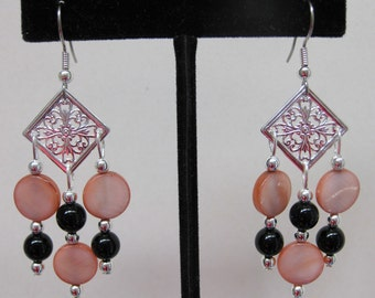 Chocolate Mother of Pearl and Black Onyx Chandelier Earrings