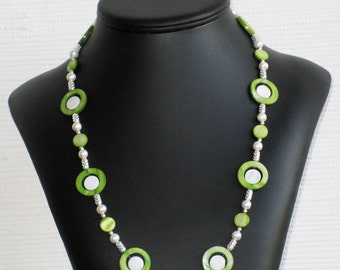 Freshwater Pearl and Lime Mother of Pearl Necklace