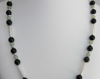Black Onyx and Aventurine Open Weave Necklace