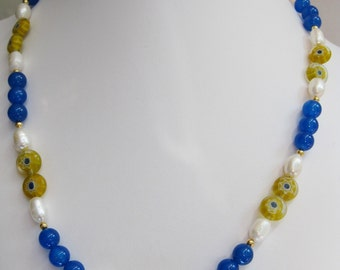Blue Onyx, Freshwater Pearl and Yellow Millefiori Bead Necklace