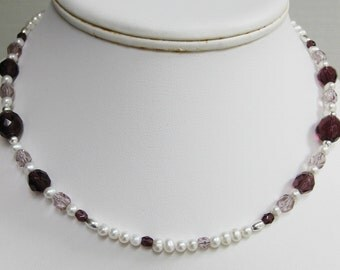 Freshwater Pearl and Faceted Purple Glass Bead Choker