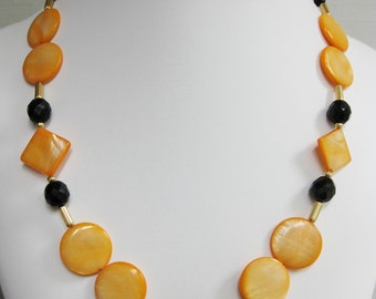 Orange Mother of Pearl and Faceted Black Glass Necklace