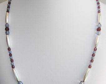 Grape and Soft Lilac Faceted Glass Bead Necklace
