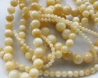 4mm Yellow Calcite Round Beads - 16 inch strand