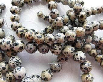 6mm Dalmation Jasper Round Beads - 16 inch strand