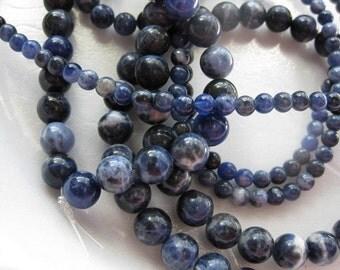 4mm Dark Blue Sodalite Round Beads - 16 inch strand