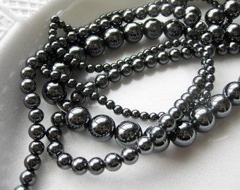 12mm Hematite Round Beads - 16 inch strand