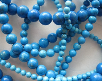 4mm Howlite Turquoise Round Beads - 16 inch strand