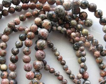 12mm Leopardskin Jasper Round Beads - 16 inch strand