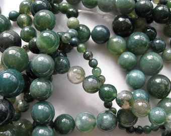 12mm Moss Agate Round Beads - 16 inch strand