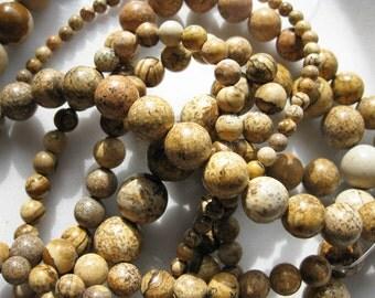 4mm Picture Jasper Round Beads - 16 inch strand
