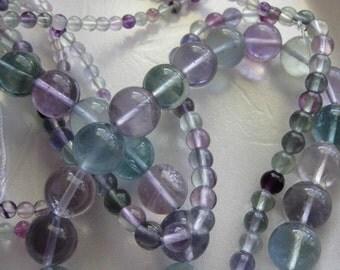 12mm Rainbow Fluorite Round Beads - 16 inch strand