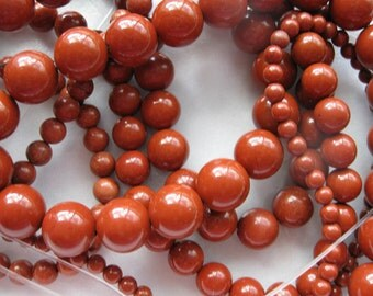 4mm Red Jasper Round Beads - 16 inch strand
