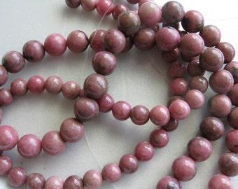 6mm Rhodonite Round Beads - 16 inch strand