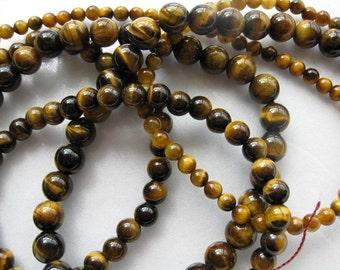 8mm Tigereye Round Beads - 16 inch strand