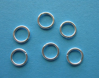 Pkg 100 12mm Silver Plated Round Open Jumprings - 18ga