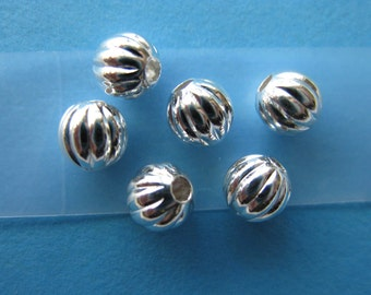 Pkg 100 3mm Silver Plated Corrugated Round Beads