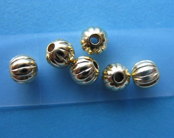 Pkg 100 3mm Gold Plated Corrugated Round Beads