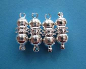 Pkg of 5 Silver Plated Round Ball Magnetic Clasps (17.5x6mm)