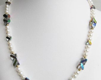 Freshwater Pearl and Rainbow Pyramid Glass Bead Necklace