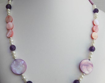 Amethyst, Mother of Pearl and Freshwater Pearl Necklace