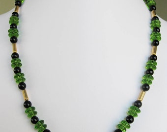 Black Onyx & Green Glass Rondelle Bead Necklace