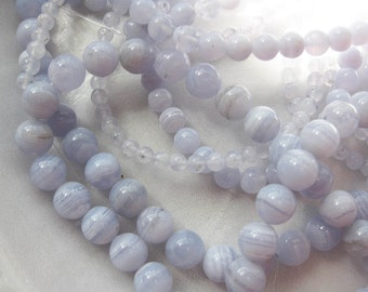 6mm Blue Lace Agate Round Beads - 16 inch strand