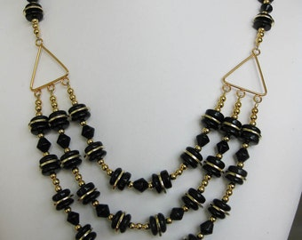 Black Glass Three Strand Necklace