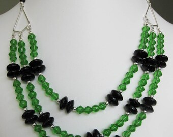 Green & Black Glass Three Strand Necklace