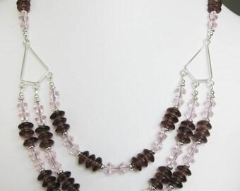 Purple & Pink Glass Three Strand Kite Necklace