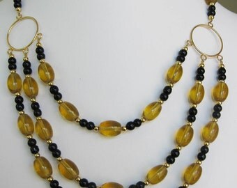 Gold & Black Glass Three Strand Circle Necklace