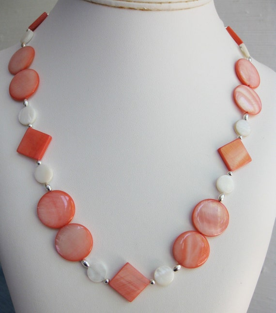 Salmon and White Mother of Pearl Necklace