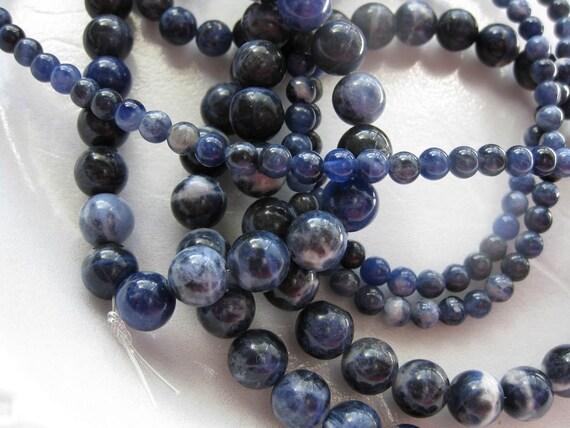 8mm Dark Blue Sodalite Round Beads - 16 inch strand