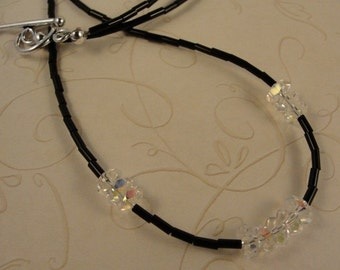 Sterling Silver And Swarovski Crystals With Black Heishi