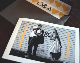 Typography and Photo Folded Wedding Invitation, Custom Wedding Invitation, Photo Invitation, Unique Wedding Invitation, Heart, Black & White